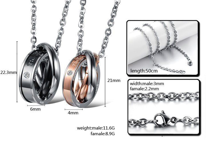 Wholesale Hot selling fashion stainless steel couples Necklace TGSTN125 4