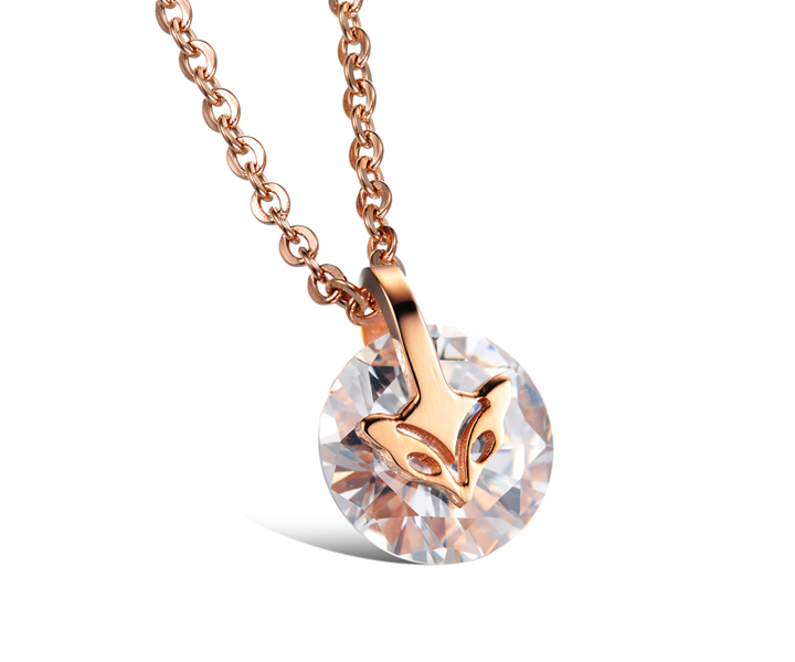 Wholesale Fashion stainless steel CZ elegant fox Necklace TGSTN129 0