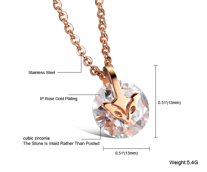 Wholesale Fashion stainless steel CZ elegant fox Necklace TGSTN129 6