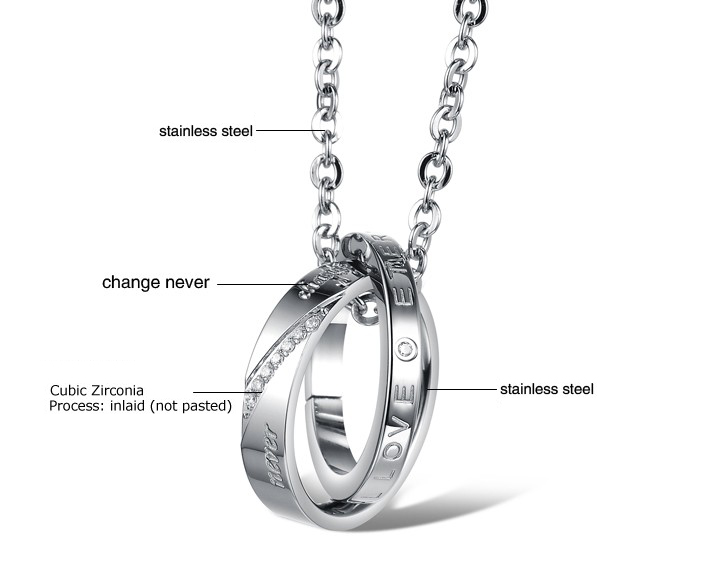 Wholesale Fashion stainless steel CZ couples Necklace TGSTN026 1