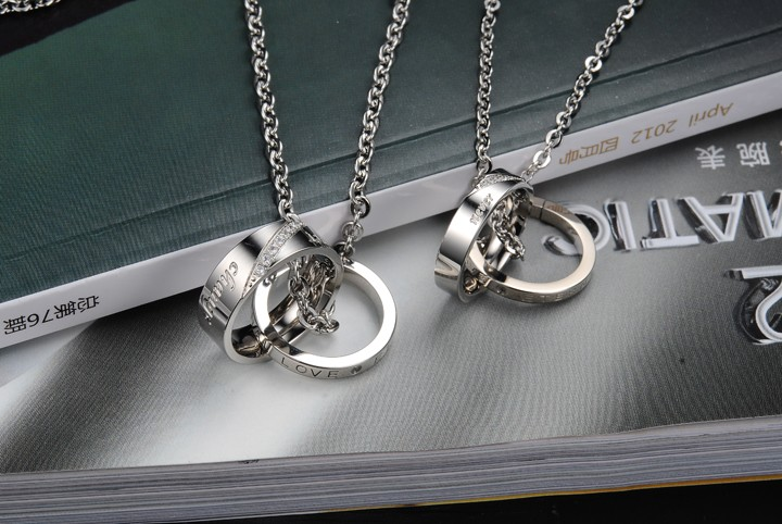 Wholesale Fashion stainless steel CZ couples Necklace TGSTN026 2