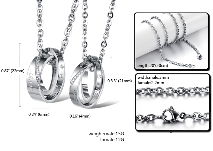 Wholesale Fashion stainless steel CZ couples Necklace TGSTN026 5