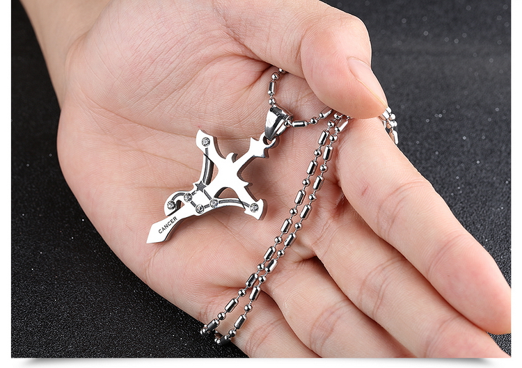 Wholesale Pisces Constellations 316L Stainless Steel Necklace TGSTN070 2