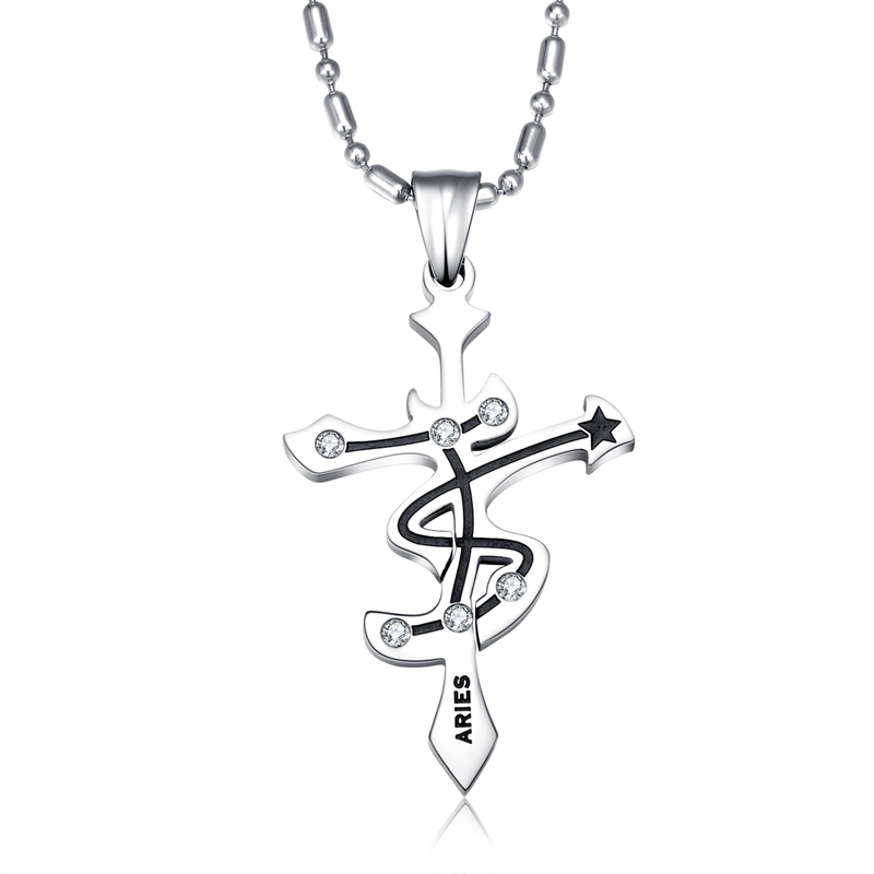 Wholesale Aries Constellations 316L Stainless Steel Necklace TGSTN071 0