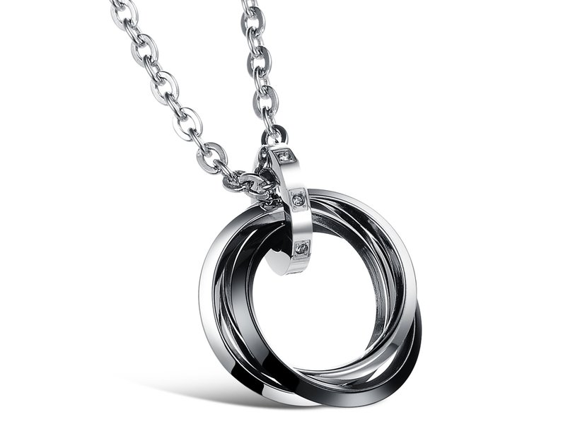 Wholesale Free shipping fashion stainless steel jewelry multiple ring couples Necklace TGSTN031 0