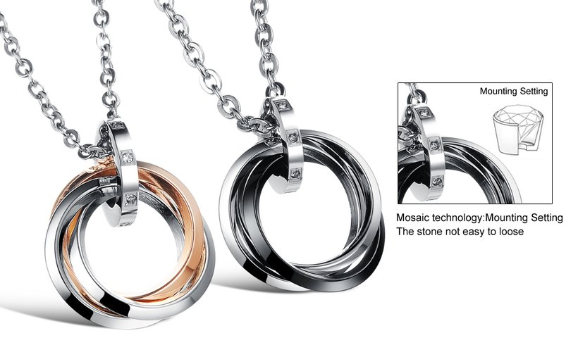 Wholesale Free shipping fashion stainless steel jewelry multiple ring couples Necklace TGSTN031 5