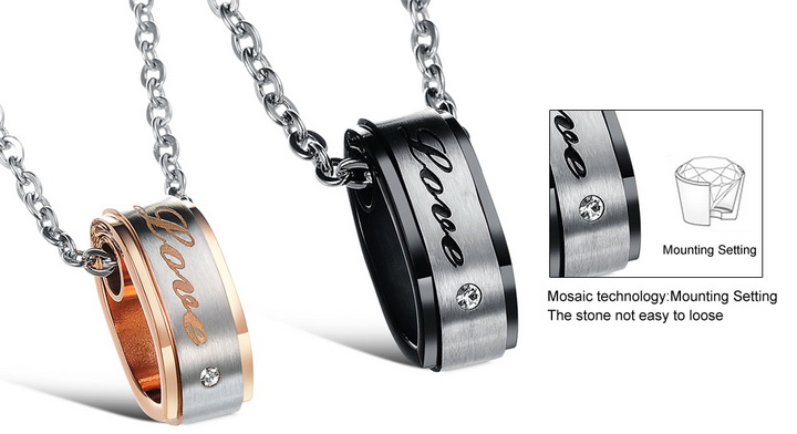 Wholesale Hot selling fashion stainless steel couples Necklace TGSTN120 4