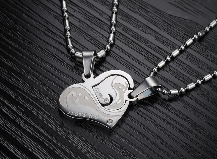 Wholesale Great Gift Love Symbols couples Necklace stainless steel Necklacepair TGSTN043 3