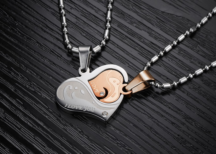Wholesale Great Gift Love Symbols couples Necklace stainless steel Necklacepair TGSTN044 2