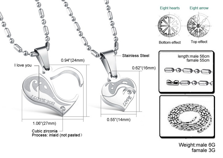Wholesale Great Gift Love Symbols couples Necklace stainless steel Necklacepair TGSTN044 4