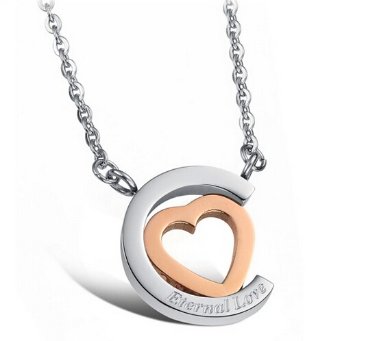 Wholesale Hot selling stainless steel starpeach hearts couples Necklace TGSTN123 1