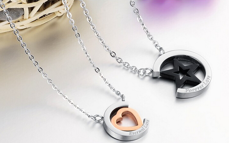 Wholesale Hot selling stainless steel starpeach hearts couples Necklace TGSTN123 2
