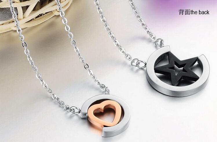 Wholesale Hot selling stainless steel starpeach hearts couples Necklace TGSTN123 3