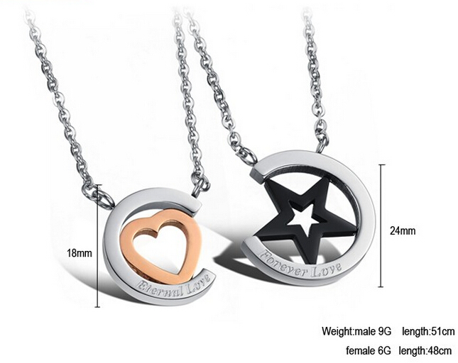 Wholesale Hot selling stainless steel starpeach hearts couples Necklace TGSTN123 4