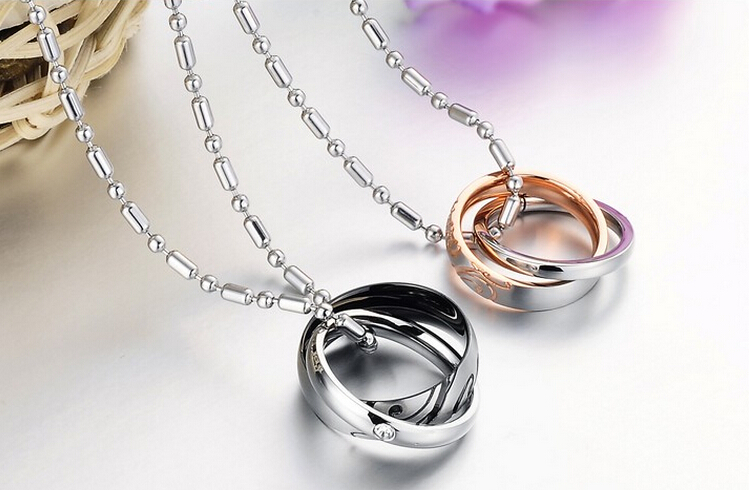 Wholesale Great Gift Love Symbols stainless steel couples Necklace CZ pendants TGSTN048 0