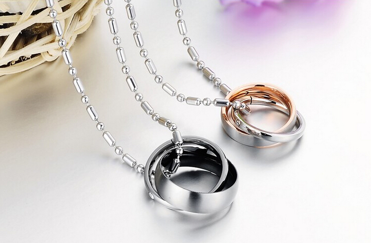 Wholesale Great Gift Love Symbols stainless steel couples Necklace CZ pendants TGSTN048 1