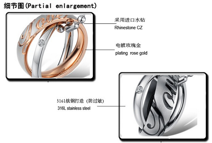 Wholesale Great Gift Love Symbols stainless steel couples Necklace CZ pendants TGSTN048 2