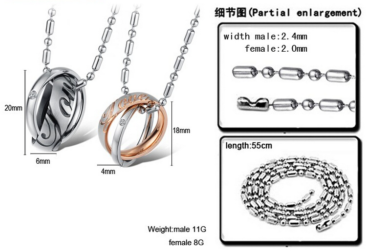 Wholesale Great Gift Love Symbols stainless steel couples Necklace CZ pendants TGSTN048 3