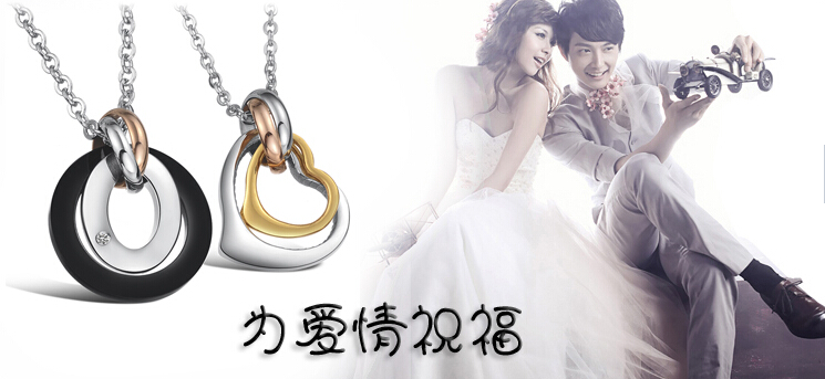 Wholesale Greatest Gift stainless steel couples Necklace CZ pendants TGSTN050 2