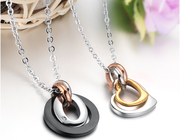 Wholesale Greatest Gift stainless steel couples Necklace CZ pendants TGSTN050 3