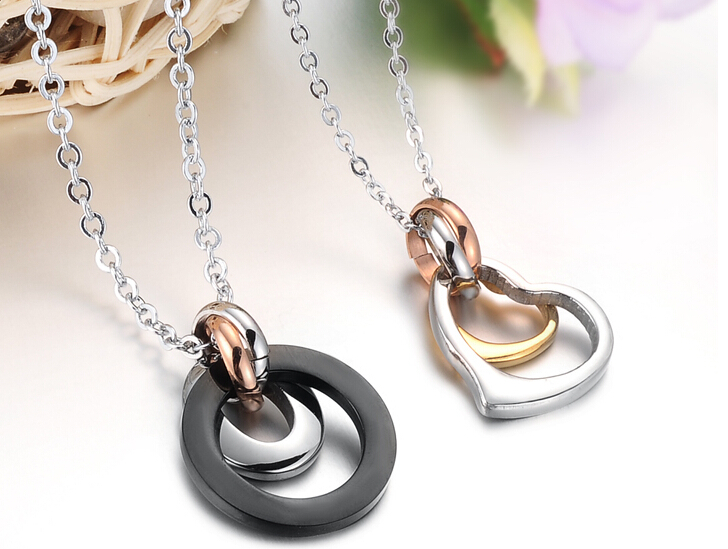 Wholesale Greatest Gift stainless steel couples Necklace CZ pendants TGSTN050 4