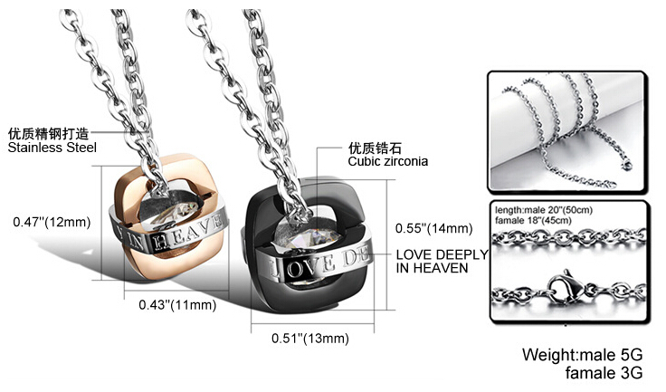 Wholesale Fashion jewelry Stainless Steel Couples Pendants TGSTN055 6