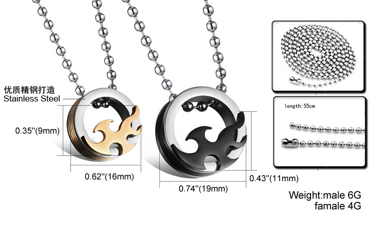 Wholesale 2018 New Style Fashion Stainless Steel Couples PendantsLover TGSTN083 8