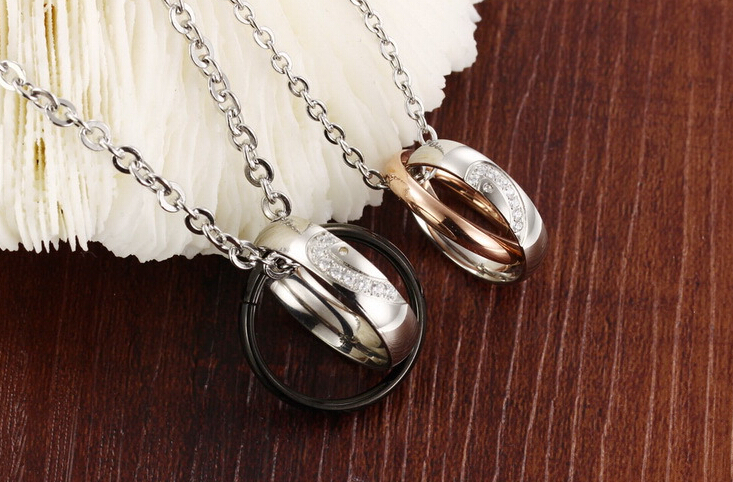 Wholesale New Style Fashion Stainless Steel Couples necklace New ArrivalLover TGSTN058 2