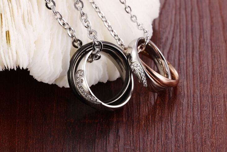 Wholesale New Style Fashion Stainless Steel Couples necklace New ArrivalLover TGSTN058 3