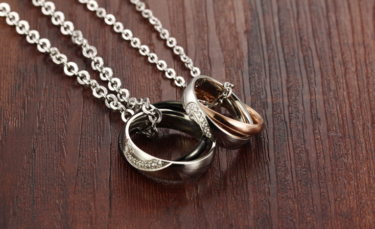 Wholesale New Style Fashion Stainless Steel Couples necklace New ArrivalLover TGSTN058 4
