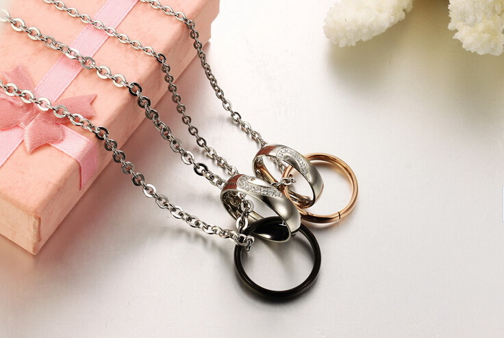 Wholesale New Style Fashion Stainless Steel Couples necklace New ArrivalLover TGSTN058 5
