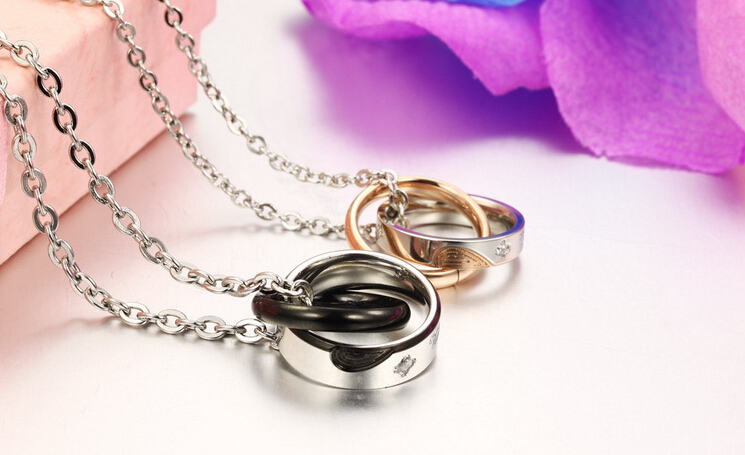 Wholesale New Style Fashion Stainless Steel Couples necklace New ArrivalLover TGSTN060 2