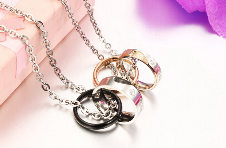Wholesale New Style Fashion Stainless Steel Couples necklace New ArrivalLover TGSTN060 3
