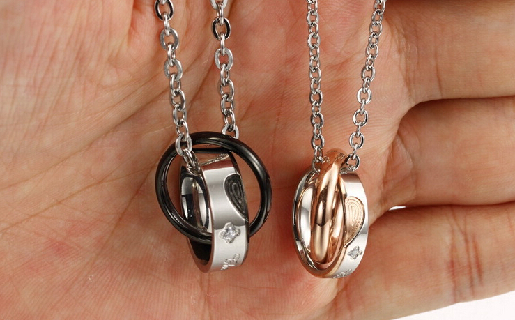 Wholesale New Style Fashion Stainless Steel Couples necklace New ArrivalLover TGSTN060 5