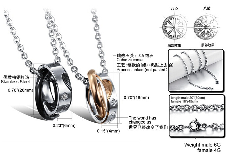 Wholesale New Style Fashion Stainless Steel Couples necklace New ArrivalLover TGSTN060 8