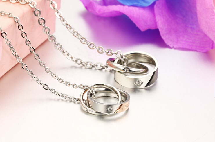 Wholesale New Style Fashion Stainless Steel Couples necklace New ArrivalLover TGSTN061 2