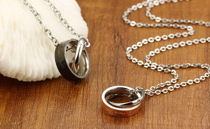 Wholesale New Style Fashion Stainless Steel Couples necklace New ArrivalLover TGSTN061 3