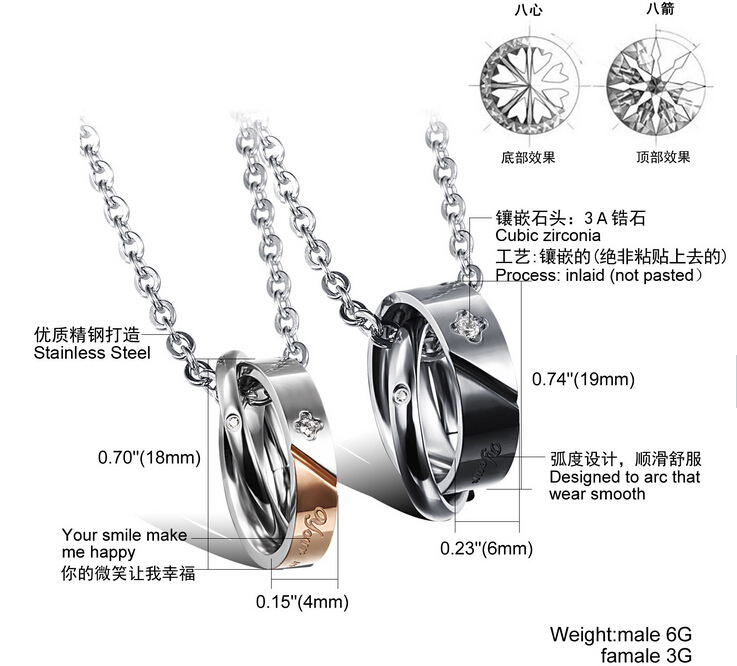 Wholesale New Style Fashion Stainless Steel Couples necklace New ArrivalLover TGSTN061 7