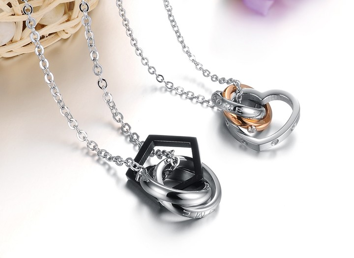 Wholesale Fashion heart star associate stainless steel couples necklace TGSTN066 0