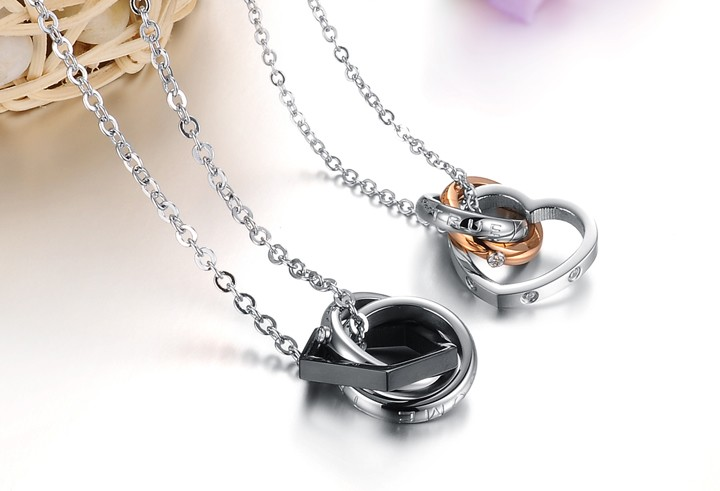 Wholesale Fashion heart star associate stainless steel couples necklace TGSTN066 1