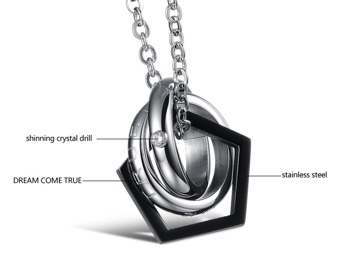 Wholesale Fashion heart star associate stainless steel couples necklace TGSTN066 2