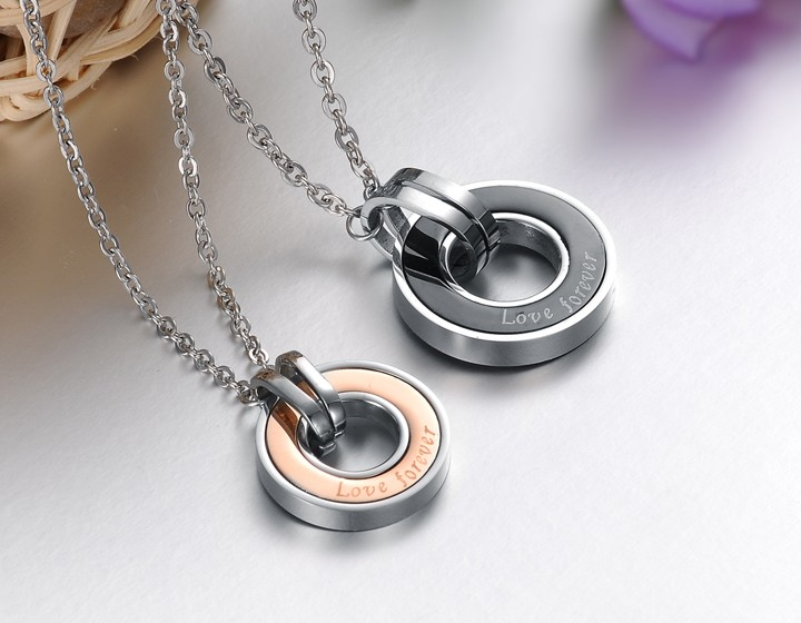 Wholesale Free shipping stainless steel couples Necklace TGSTN034 2