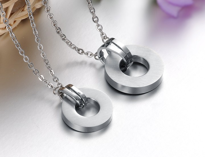 Wholesale Free shipping stainless steel couples Necklace TGSTN034 3