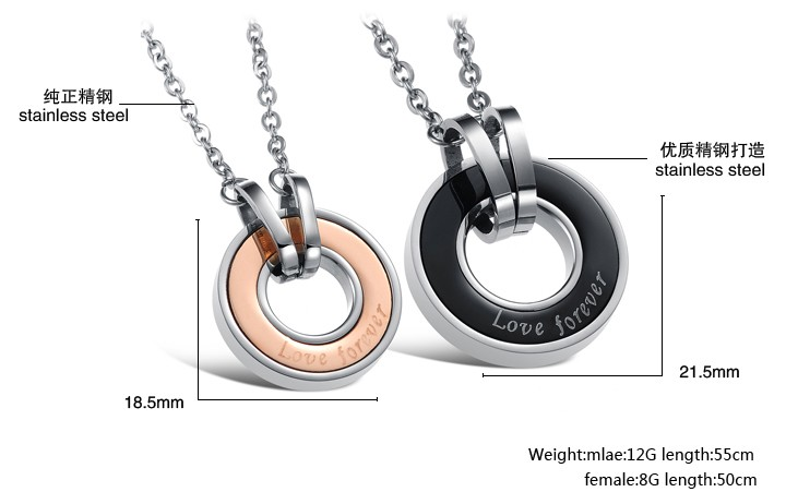 Wholesale Free shipping stainless steel couples Necklace TGSTN034 4