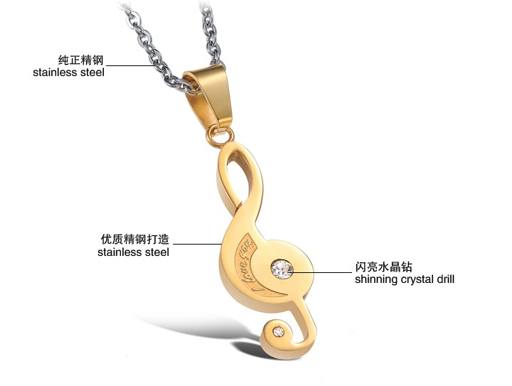 Wholesale The best gifts stainless steel collage couples Necklace TGSTN038 1