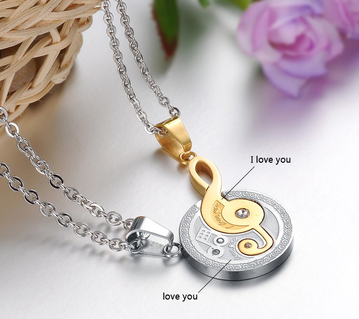 Wholesale The best gifts stainless steel collage couples Necklace TGSTN038 2
