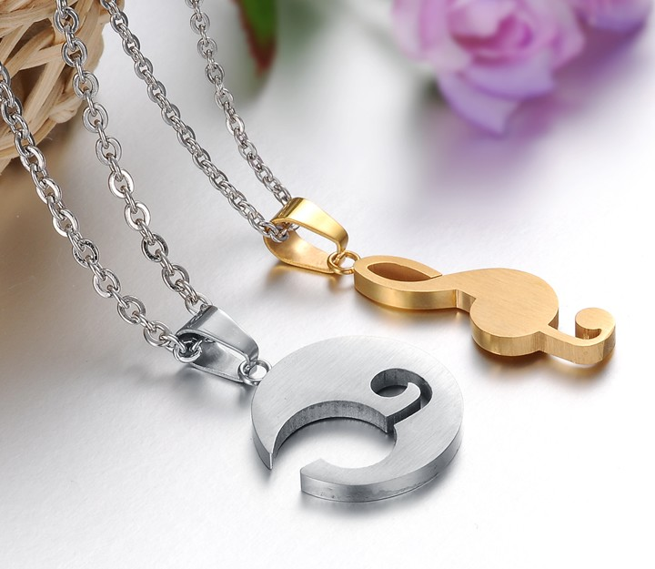 Wholesale The best gifts stainless steel collage couples Necklace TGSTN038 3