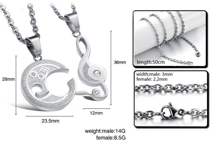 Wholesale The best gifts stainless steel collage couples Necklace TGSTN039 4
