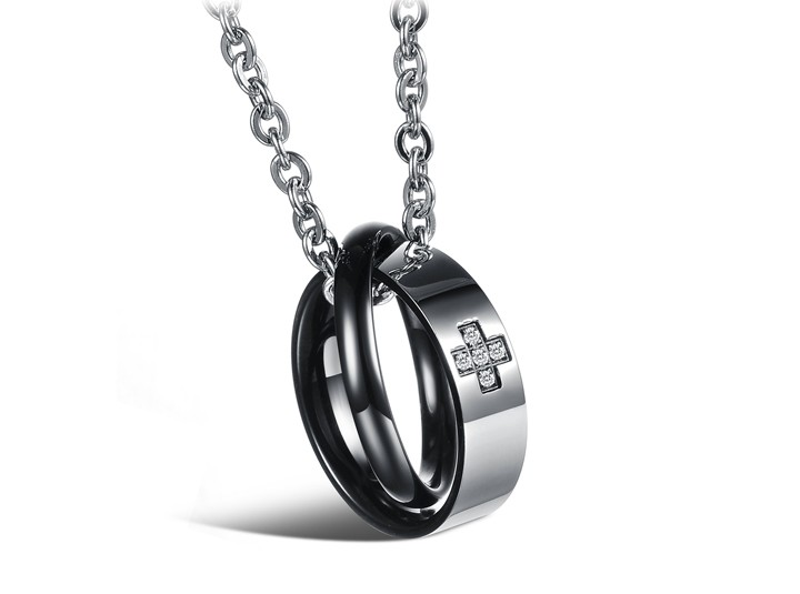 Wholesale Most popular rose gold stainless steel couples Necklace TGSTN040 0