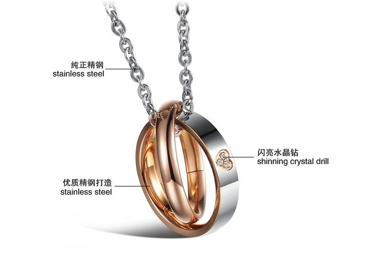 Wholesale Most popular rose gold stainless steel couples Necklace TGSTN040 1